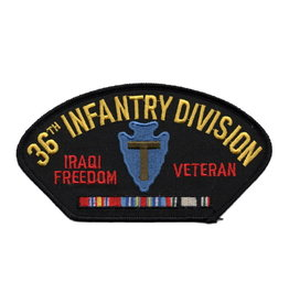 """MidMil Embroidered Army 36th Infantry Division Iraqi Freedom Veteran Patch with Emblem and Ribbons 5.2"""" wide x 2.7"""" High Black"""