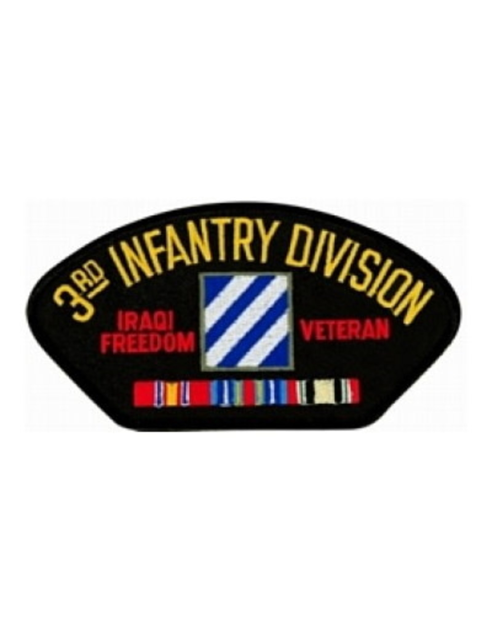 """MidMil Embroidered Army 3rd Infantry Division Iraqi Freedom Veteran Patch with Emblem and Ribbons 5.2"""" wide x 2.7"""" high Black"""