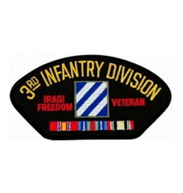 """MidMil Embroidered Army 3rd Infantry Division Iraqi Freedom Veteran Patch 5.2"""" wide x 2.7"""" high Black"""