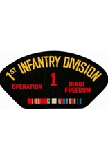 "MidMil Army 1st Infantry Division Operation Iraqi Freedom Patch with Emblem and Ribbons 5.2"" wide x 2.7"" high Black"