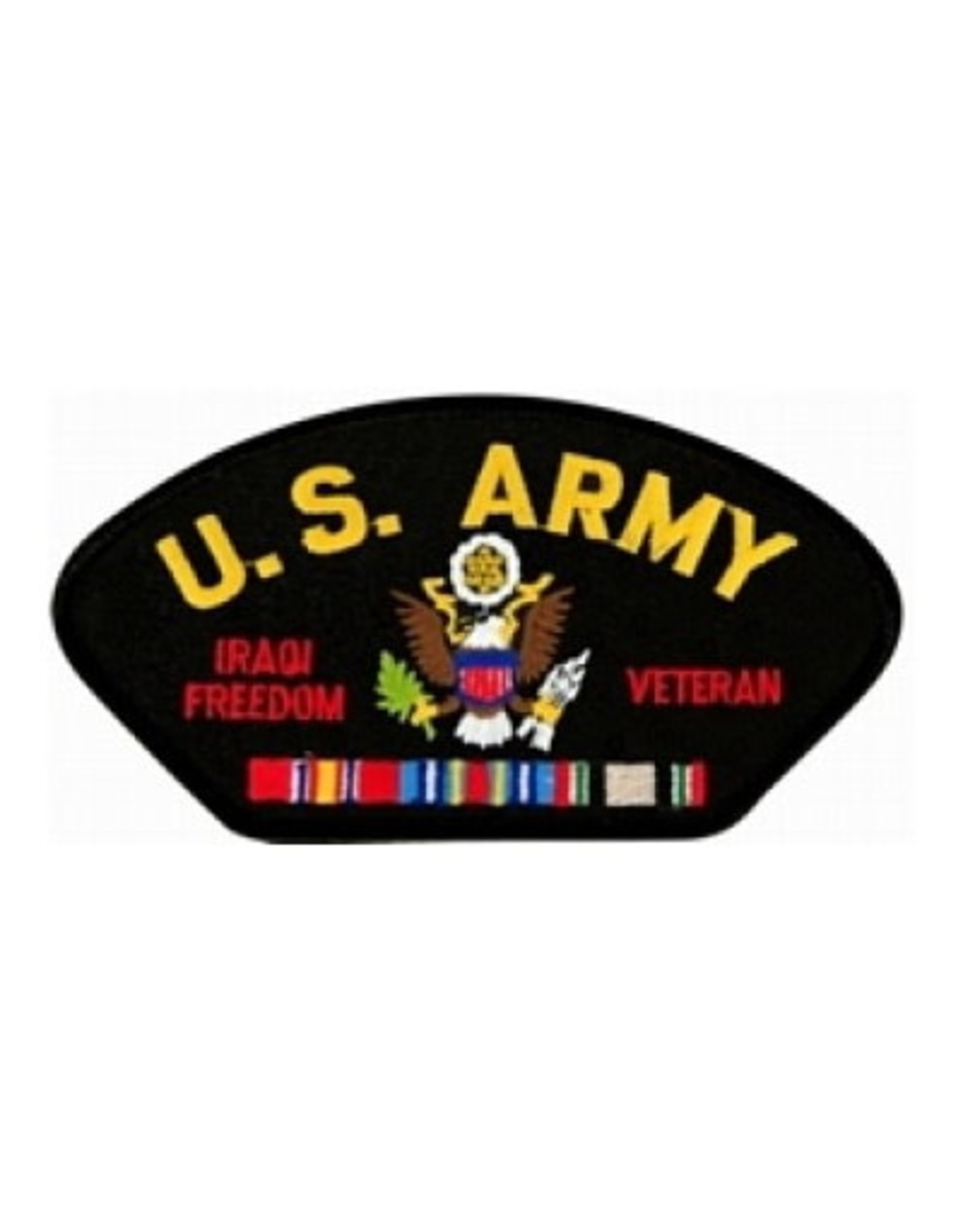 "MidMil Embroidered U.S. Army Iraqi Freedom Veteran with Emblem and Ribbons 5.2"" wide x 2.7"" high Black"