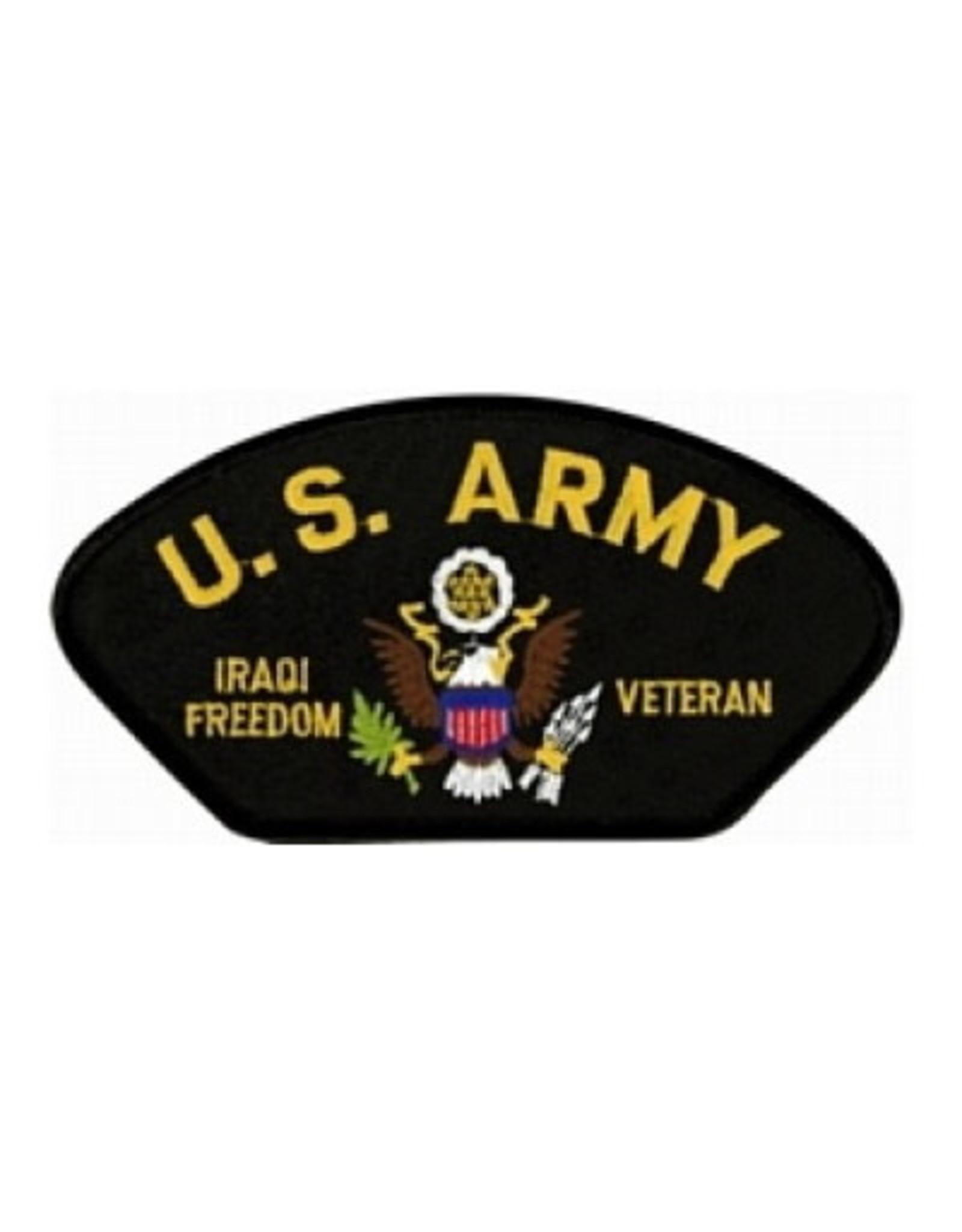 "MidMil Embroidered U.S. Army Iraqi Freedom Veteran with Emblem 5.2"" wide x 2.7"" high Black"