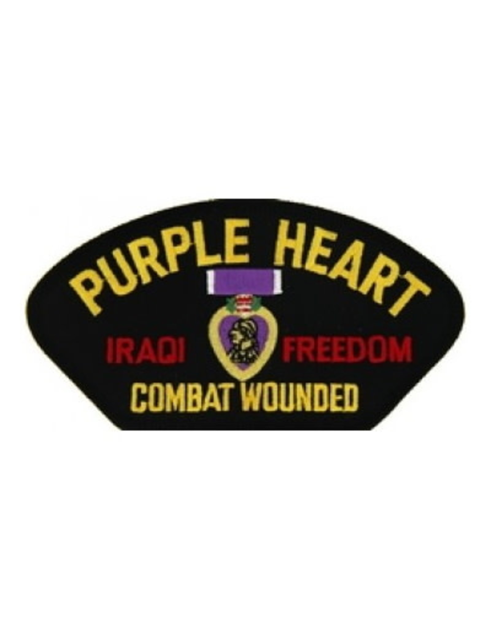"""MidMil Embroidered Purple Heart Combat Wounded Iraqi Freedom Patch with Medal 5.2"""" wide x 2.7"""" high Black"""