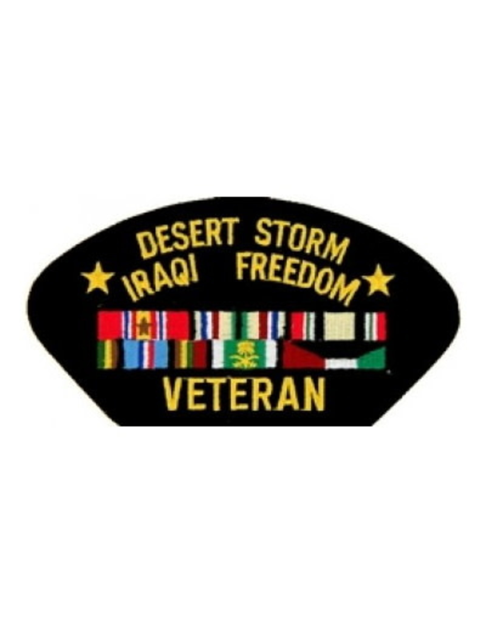 """MidMil Embroidered Desert Storm/Iraqi Freedom Veteran Patch with Ribbons 5.2' wide x 2.7"""" high Black"""