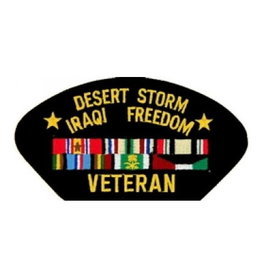 "MidMil Embroidered Desert Storm/Iraqi Freedom Veteran Patch with Ribbons 5.2' wide x 2.7"" high Black"