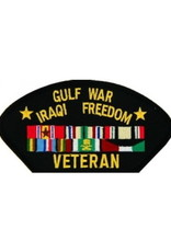 """MidMil Embroidered Gulf War Iraqi Freedom Veteran Patch with Ribbons 5.2"""" wide x 2.7"""" high Black"""