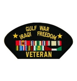 "MidMil Embroidered Gulf War Iraqi Freedom Veteran Patch with Ribbons 5.2"" wide x 2.7"" high Black"