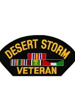 "MidMil Embroidered Desert Storm Veteran Patch with Ribbons 5.2"" wide x 2.7"" high Black"