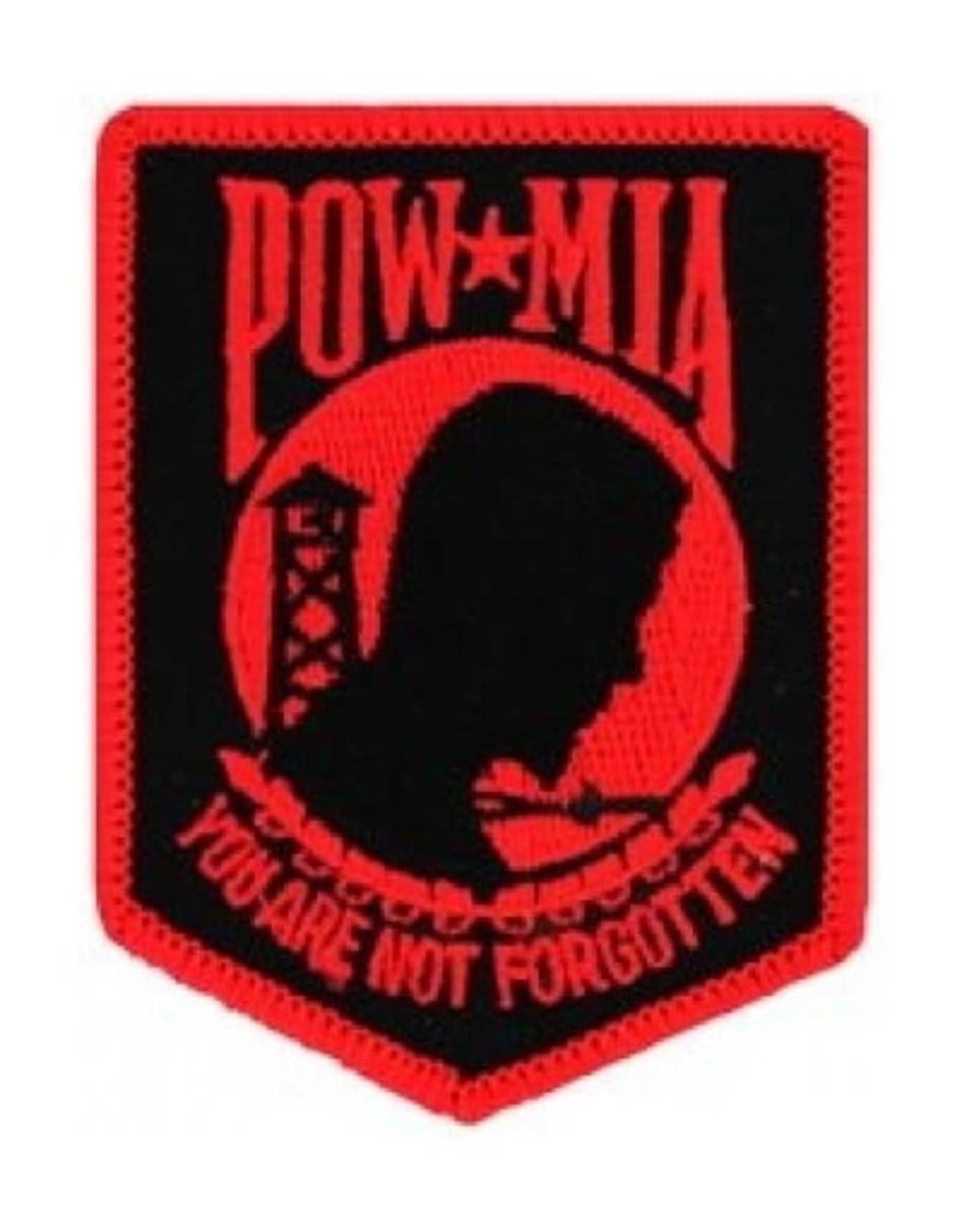"MidMil Embroidered POW*MIA Patch 3"" wide x 4"" high Black on Red"