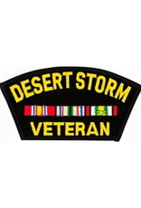 "MidMil Embroidered Desert Storm Veteran Patch with Ribbons 5.3"" wide x 2.9"" high Black"