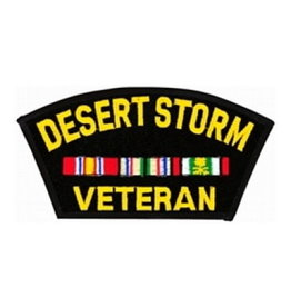"""MidMil Embroidered Desert Storm Veteran Patch with Ribbons 5.3"""" wide x 2.9"""" high Black"""