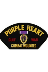 "MidMil Embroidered Purple Heart Combat Wounded Gulf War Patch with Medal 5.2"" wide x 2.7"" high Black"