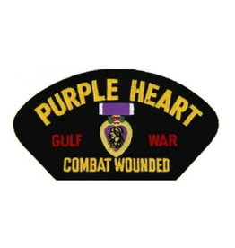 """MidMil Embroidered Purple Heart Combat Wounded Gulf War Patch with Medal 5.2"""" wide x 2.7"""" high Black"""