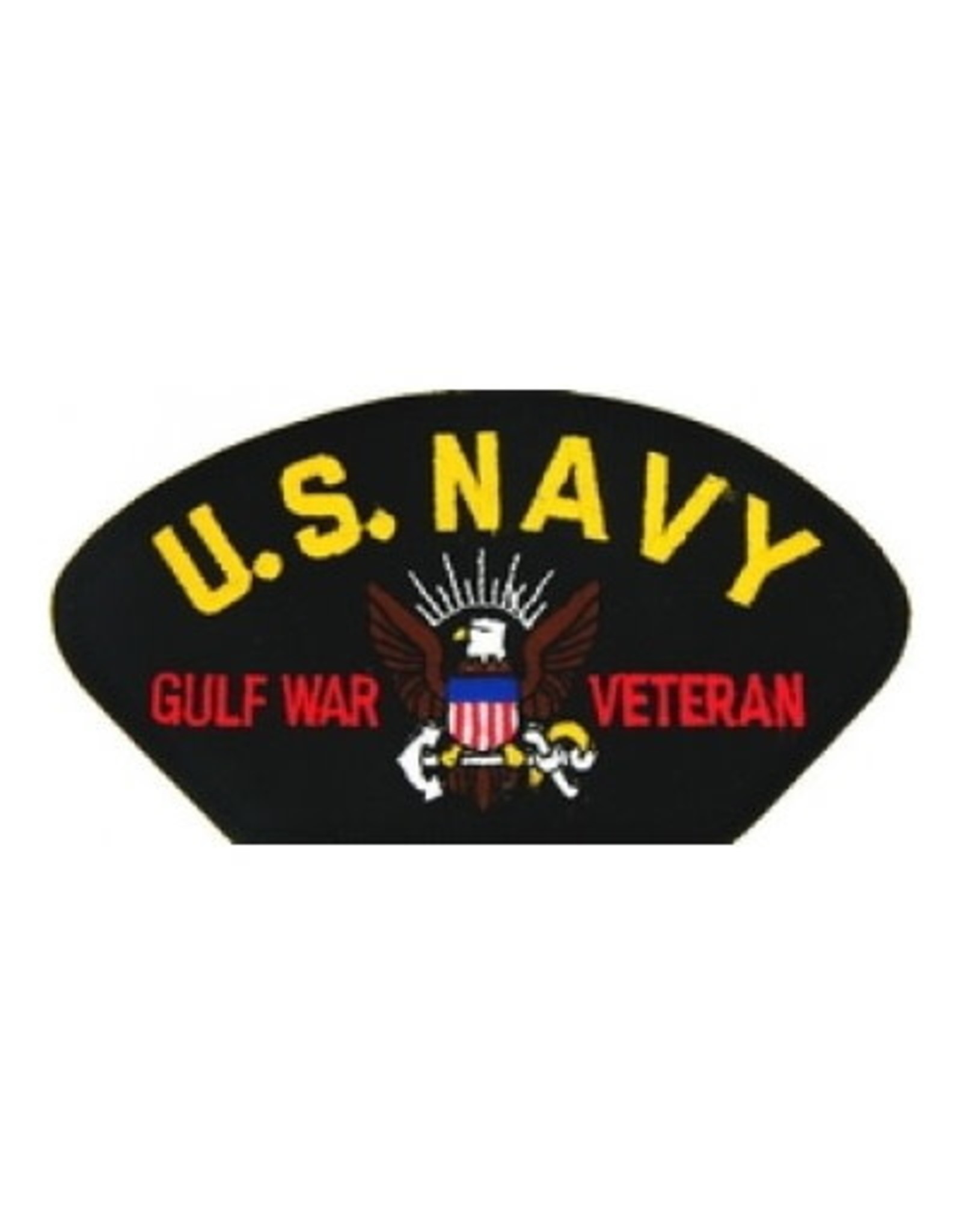 """MidMil Embroidered U.S. Navy Gulf War Veteran Patch with Emblem 5.2"""" wide x 2.7"""" high Black"""