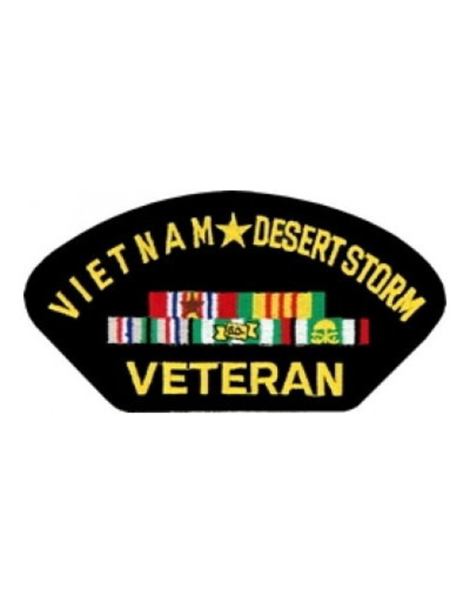 "MidMil Embroidered Vietnam*Desert Storm Veteran Patch with Ribbons 5.2"" wide x 2.7"" high Black"