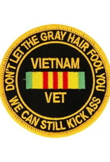 "MidMil Embroidered Vietnam Vet ""Don't Let the Gray Hair ... Patch with Ribbon 3"""