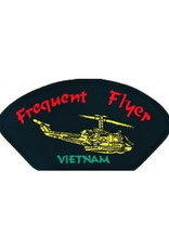 """MidMil Embroidered Frequent Flyer Vietnam Patch with Huey 5.2"""" wide x 2.7"""" high Black"""