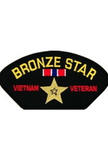 """MidMil Embroidered Bronze Star Vietnam Veteran Patch withe Medal 5.2"""" wide x 2.7"""" high Black"""