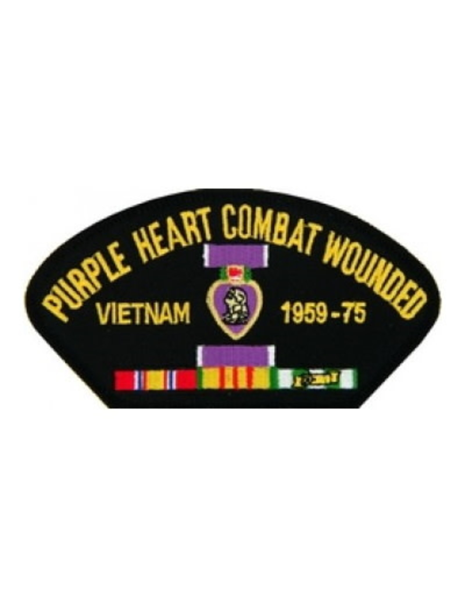 """MidMil Purple Heart Combat Wounded Vietnam 1959-75 Patch with medal and ribbons 5.2"""" wide x 2.7"""" high Black"""
