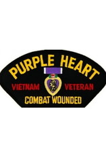 """MidMil Embroidered Purple Heart Combat Wounded Vietnam Veteran Patch with Medal 5.2"""" wide x 2.7"""" high Black"""