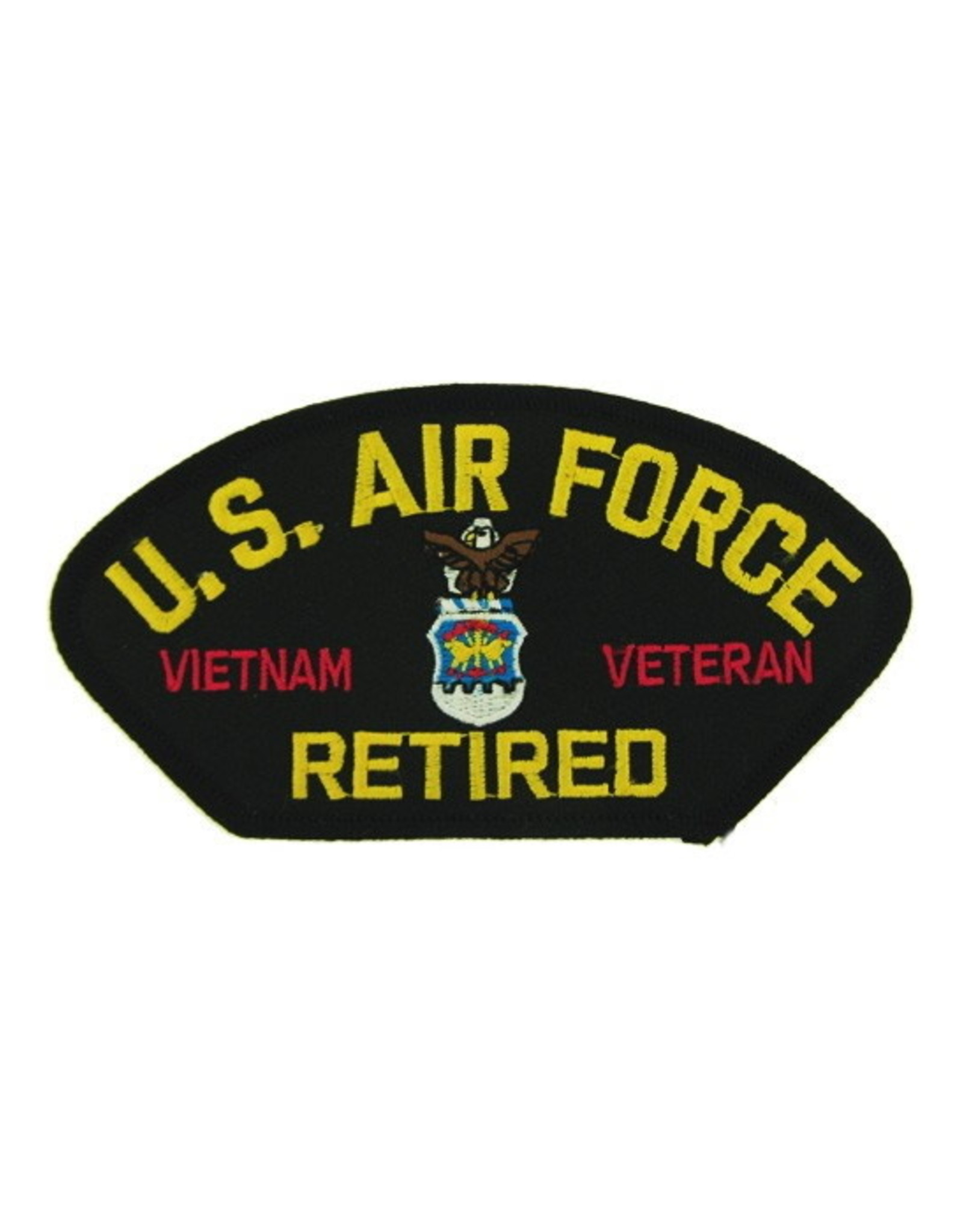 """MidMil Embroidered U.S. Air Force Retired Vietnam Veteran Patch with Emblem 5.2"""" wide x 2.7"""" high Black"""