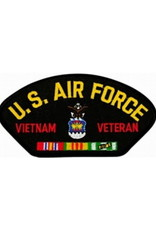 """MidMil Embroidered U.S. Air Force Vietnam Veteran Patch with Emblem and Ribbons 5.2"""" wide x 2.7"""" high Black"""