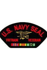 "MidMil Embroidered U.S. Navy Seal Vietnam Veteran Patch with Emblem and Ribbons 5.2"" wide x 2.7"" high Black"