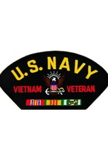 "MidMil Embroidered U.S. Navy Vietnam Veteran Patch with Emblem and Ribbons 5.2"" wide x 2.7"" high Black"