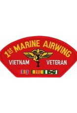 """MidMil Embroidered 1st Marine Airwing Vietnam Veteran Patch with Emblem and Ribbons  5.2"""" wide x 2.7"""" high Red"""