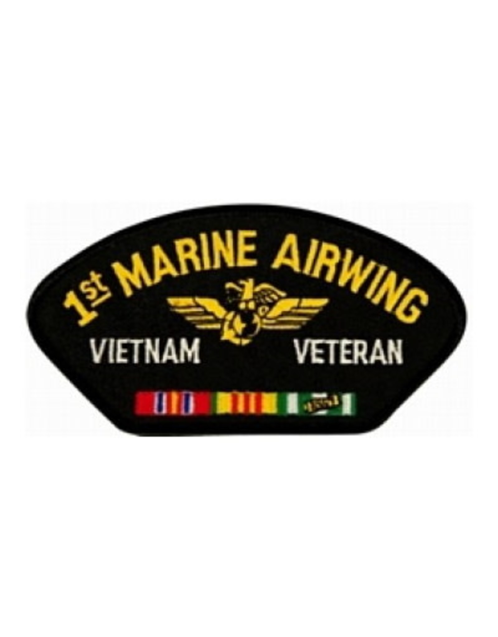 """MidMil Embroidered 1st Marine Airwing Vietnam Veteran Patch with Emblem and Ribbons  5.2"""" wide x 2.7"""" high Black"""