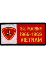 "MidMil Embroidered 3rd Marine 1965-1969 Vietnam Patch with Emblem  4"" wide x 2"" high"