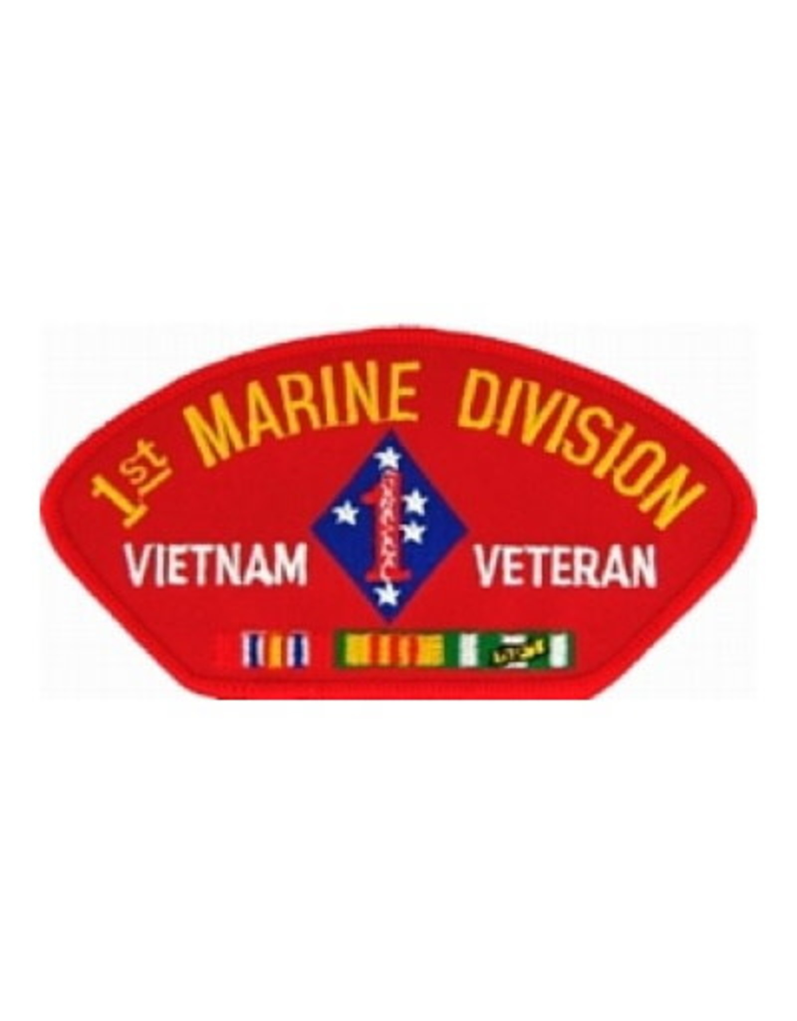 "MidMil Embroidered 1st Marine Division Vietnam Veteran Patch with Emblem and Ribbons 5.2"" wide x 2.7"" high Red"