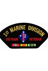 """MidMil Embroidered 1st Marine Division Vietnam Veteran Patch with Emblem and Ribbons 5.2"""" wide x 2.7"""" high Black"""