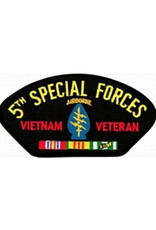 "MidMil Embroidered 5th Special Forces Vietnam Veteran Patch with Emblem and Ribbons 5.2"" wide x 2.7"" high Black"