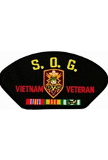 "MidMil Embroidered S.O.G. Vietnam Veteran Patch with Emblem and Ribbons 5.2"" wide x 2.7"" high Black"