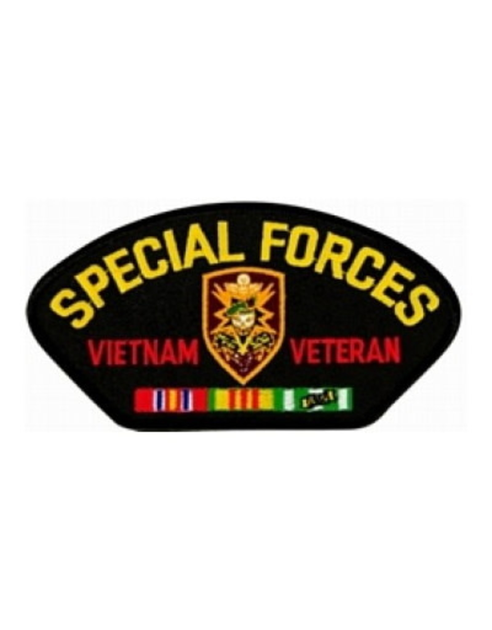 "MidMil Embroidered Special Forces Vietnam Veteran Patch with Emblem and Ribbons 5.2"" wide x 2.7"" high Black"