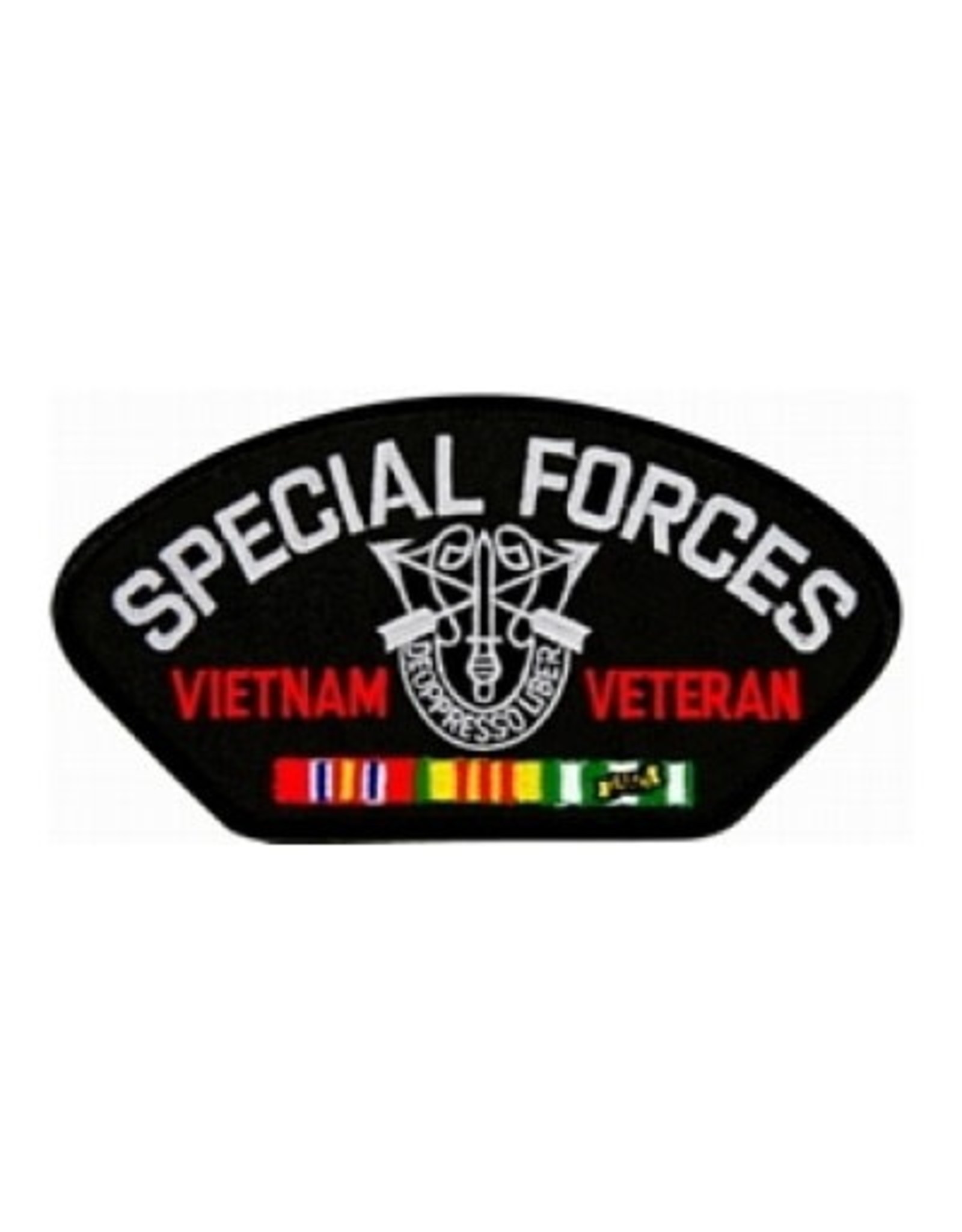 """MidMil Embroidered Special Forces Vietnam Veteran Patch with Crest and Ribbons 5.2"""" wide x 2.7"""" high Black"""