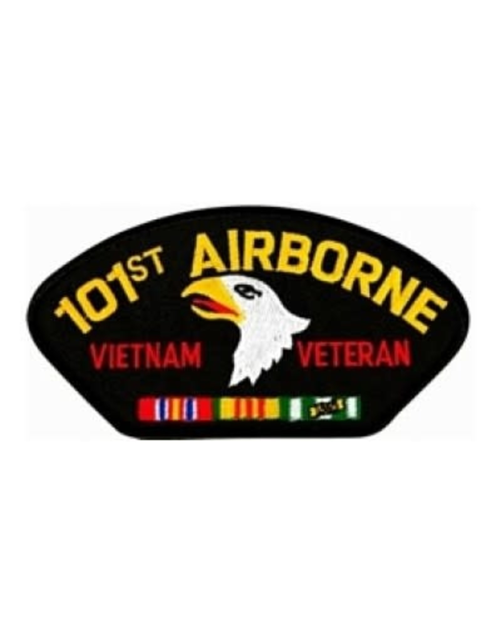 """MidMil Embroidered 101st Airborne Vietnam Veteran Patch with Emblem and Ribbons 5.2"""" wide x 2.7"""" high Black"""