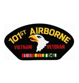 "MidMil Embroidered 101st Airborne Vietnam Veteran Patch with Emblem and Ribbons 5.2"" wide x 2.7"" high Black"