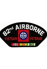 """MidMil Embroidered 82nd Airborne Vietnam Veteran Patch with Emblem and Ribbons  5.2"""" wide x 2.7"""" high Black"""