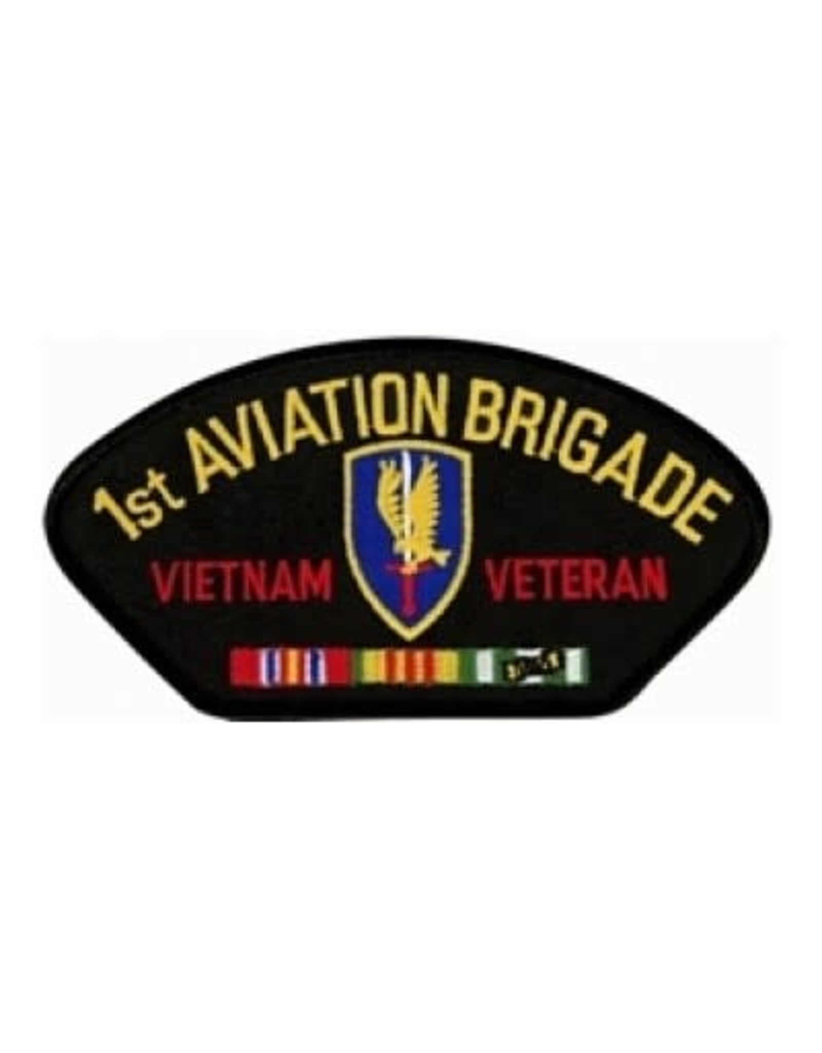 """MidMil Embroidered 1st Aviation Brigade Vietnam Veteran Patch with Emblem and Ribbons 5.2"""" wide x 2.7"""" high Black"""