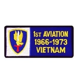 """MidMil Embroidered 1st Aviation 1966-1973 Vietnam Patch with Emblem 4"""" wide x 2"""" high"""