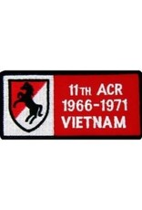 """MidMil Embroidered 11th ACR 1966-1971 Vietnam Patch with Emblem 4"""" wide x 2"""" high"""