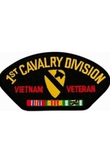 """MidMil Embroidered 1st Cavalry Division Vietnam Veteran Patch with Emblem and Ribbons 5.2"""" wide x 2.7"""" high Black"""