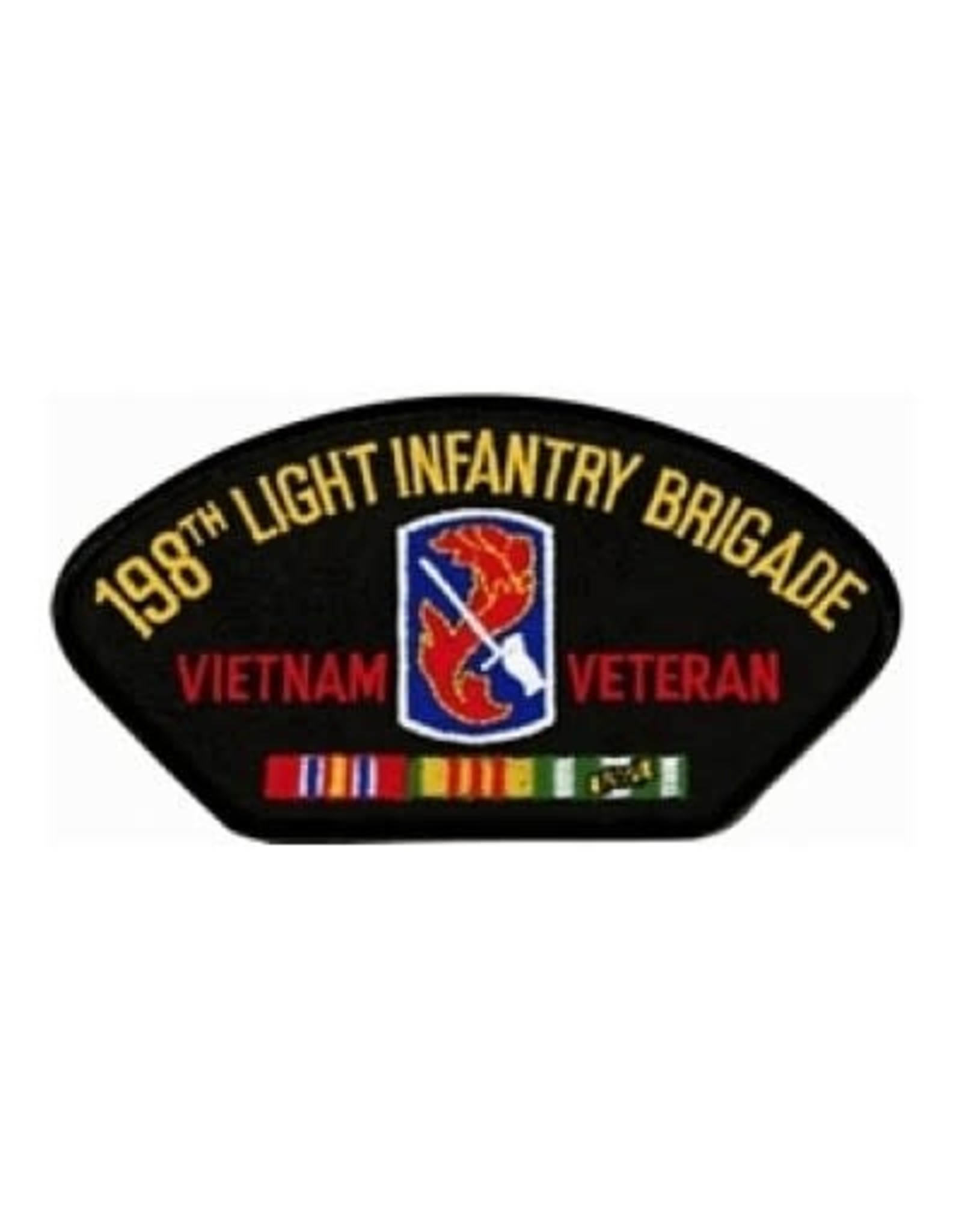 """MidMil Embroidered 198th Light infantry Brigade Vietnam Veteran Patch 5.2"""" wide x 2.7""""high Black"""