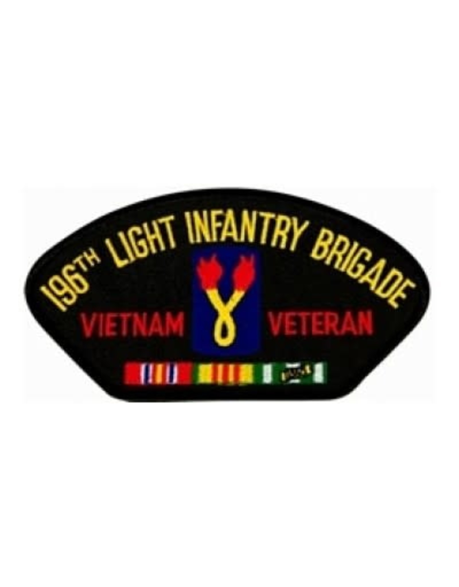 "MidMil Embroidered 196th Light infantry Brigade Vietnam Veteran Patch 5.2"" wide x 2.7""high Black"