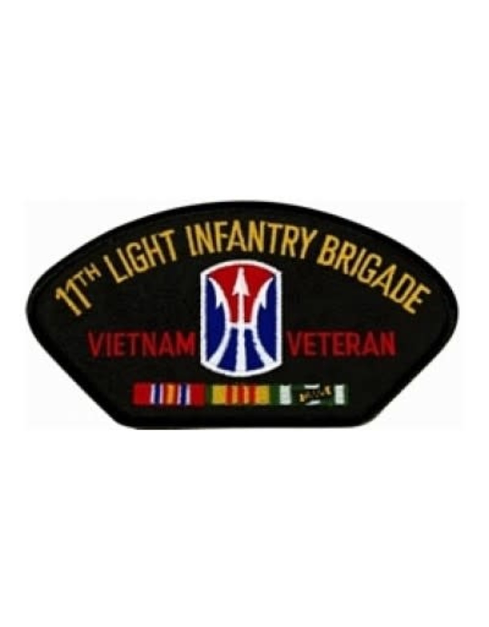 "MidMil Embroidered 11th Light Infantry Brigade Vietnam Veteran Patch with Emblem and Ribbons 5.2"" wide x 2.7"" high Blackx2.75"""