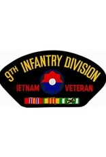 """MidMil Embroidered 9th Infantry Division Vietnam Veteran Patch with Emblem and Ribbons 5.2"""" wide x 2.7"""" high Black"""