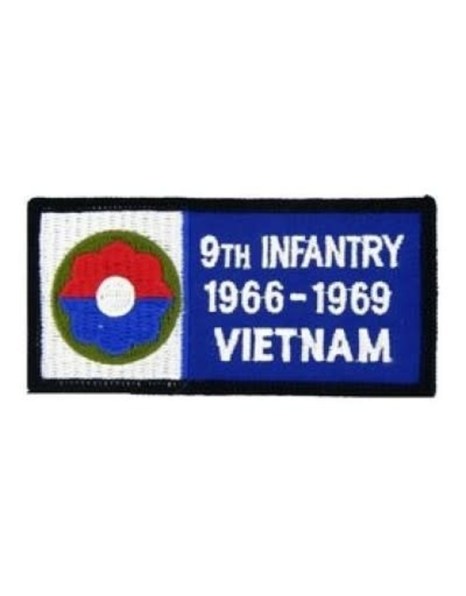 "MidMil Embroidered 9th Infantry 1966-1969 Vietnam Patch with Emblem  5.2"" wide x 2.7"" high Black"