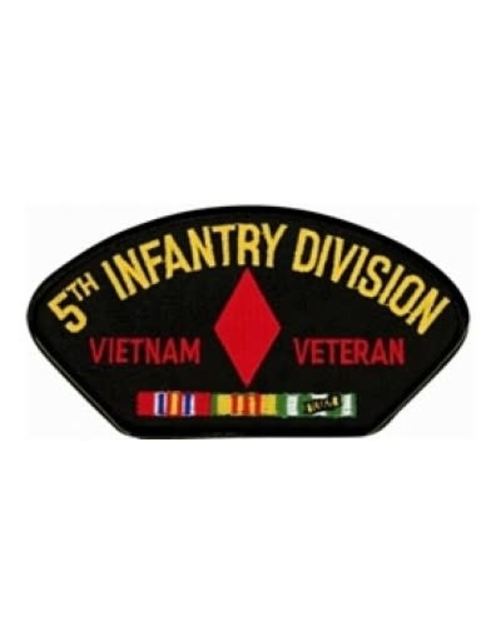 """MidMil Embroidered 5th Infantry Division Vietnam Veteran Patch with Emblem and Ribbons 5.2"""" wide x 2.7"""" high Black"""